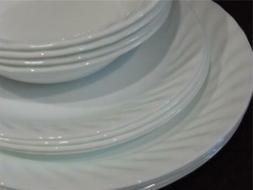 12-pc Corelle ENHANCEMENTS White DINNERWARE SET Dinner Lunch