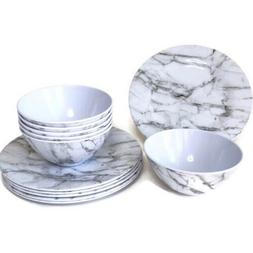 12 Pc Dinnerware Set Marble Melamine Durable Outdoors Campin