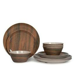 12 Pcs  Dinnerware Set ,Camping Dishes, Lightweight Unbreaka