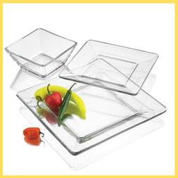 Mainstays 12 Piece Square Glass Dinnerware Plates Set Dishes