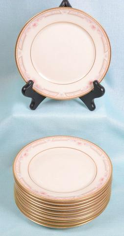 12 Vintage Lenox BELLAIRE Dinnerware Ivory Pink Gray 22Kt Go