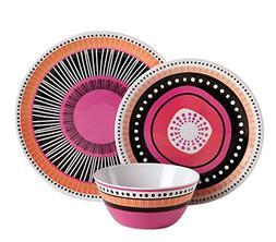 12Pc Almira Melamine Dinnerware Plates Bowls Dishes Dinner K