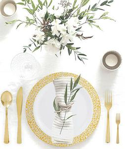 150PCS Gold Lace Plastic Plates Disposable Silverware Tablew