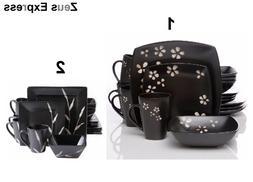 16-32 Piece Square Dinnerware Set For 4-8 Black Modern Flowe