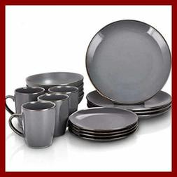 16 PC Round Dishes Dinnerware Sets Glossy GRAY W GOLD Trim C