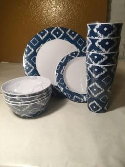 16-Piece Dinnerware Set blue and white geometric design brea