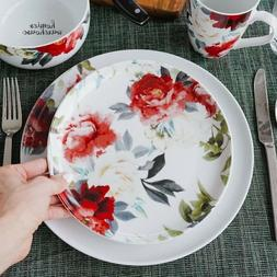 16 Piece Dinnerware Set Porcelain Red & White Roses Kitchen