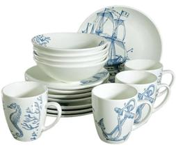 16 Piece Porcelain Dinnerware Set for 4 persons w/ Nautical