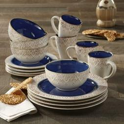 16-Piece Granada Dinnerware Set Blue And Brown Damask Motif