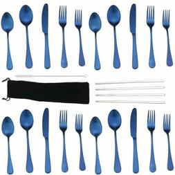 18/10 Stainless Steel Blue Flatware Set Dinnerware Set With