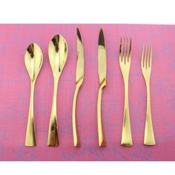 18/10 Stainless Steel Dinnerware Set Knife Fork Gold Flatwar