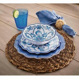 "18 Piece Melamine Dinnerware Set Blue ""French Country"""