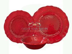 Le Cadeaux 18PC Garnet Red Triple Quality Holiday Melamine D