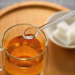 1pc Clear Glass Stirring Coffee Tea Spoon Dinnerware Eco-fri