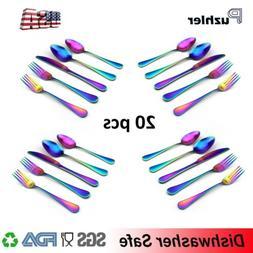 20 pcs Matte Colorful Plated Rainbow Dinnerware Flatware Set