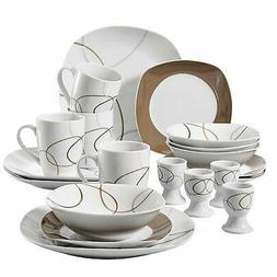 20 Pcs Porcelain Dinnerware Sets Brown Lines Patterns Porcel