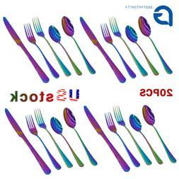 20PCS/Set Rainbow Stainless Steel Dinnerware Dinner Knife Fo