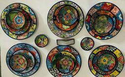 23 Piece Talavera Dinnerware 6 Plate Settings Colorful Flora