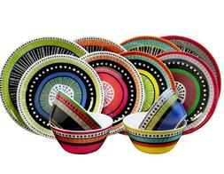 Gibson 24-piece Colorful Melamine Dinnerware Set Service for