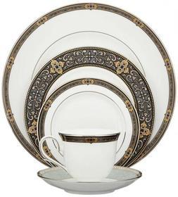 24K Gold Accented Elegant Vintage Jewel Fine Bone China 5 Pi