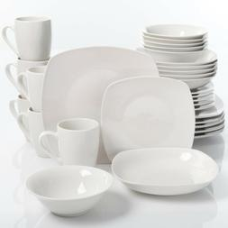 30-Piece White kitchen Dinnerware Set Simply Dinner Plates B