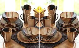 32 piece square dinnerware set dishes stoneware