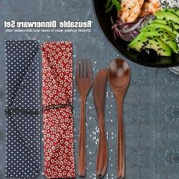 3Pc Wooden Dinnerware Set Bamboo Fork Dining Soup Spoon Knif