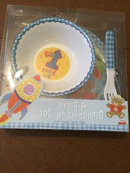 Amscan 4 Piece Dinnerware Set, Boys 1st Birthday, NEW!