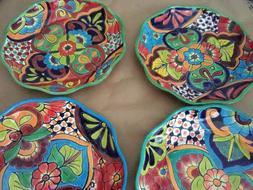 """4 Talavera Pottery Ceramic Plates 11.5"""" Hand painted Folk Ar"""