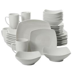 40-Piece Dinnerware Set White Ceramic Kitchen Dish Square Di