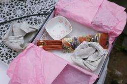 6 pc Japanese Dinnerware Sushi Set Pink & White Blossoms for