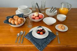 62 Piece Round Dinnerware Set Dinner Dessert Plates Bowls St