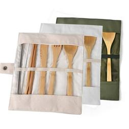7pcs/set Wooden Cutlery Bamboo Tooth Knife Dinnerware Set Cl