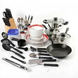 83-Piece Kitchen Dining Plan & Plate & Knife Cookware Combo
