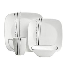 Corelle 16 Piece Cascading Lines Square Dinnerware Set, Whit