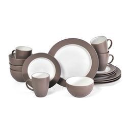 Pfaltzgraff Harmony Taupe 16-Piece Stoneware Dinnerware Set,