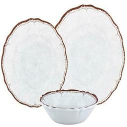 Le Cadeaux Antiqua White Dinner Salad Plates Cereal Bowls 12