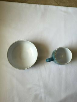 Denby Azure Shell Large Mug With Azure Shell Soup Cereal Bow