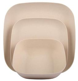 Melange 12-Piece Bamboo Dinnerware Set    Shatter-Proof and