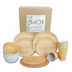 1 Click Bamboo Fiber Reusable Dinnerware Set, 16 Pieces For