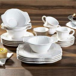 Baroque 20-Piece White Dinnerware Set Beautiful Formal Occas