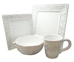 American Atelier Bianca Leaf Square 16-Piece Dinnerware Set