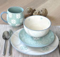 blue and white stoneware dinnerware set plates