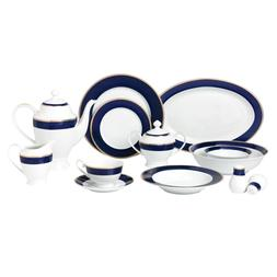 bone china dinnerware set 57 piece blue