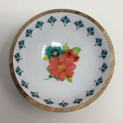 The Pioneer Woman Breezy Blossom Mango Wood Salad Bowl Dinne