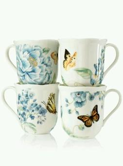 Lenox Butterfly Meadow Cup /Mug's Set Of 4 10 oz Porcelain d