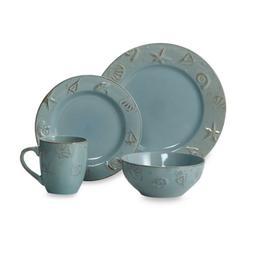 Cape Cod 16-Piece Stoneware Dinnerware Set - Coastal, Serves