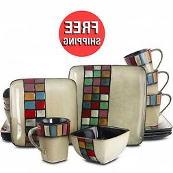 Casual Dinnerware Sets Dishes Service For 4 Square Stoneware