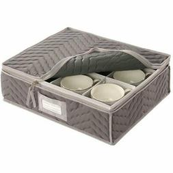 China Cup Storage Chest -Deluxe Quilted Microfiber-Light Gra