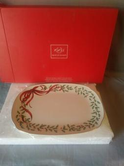 LENOX China Holiday Ribbon Oblong Serving Platter Dinnerware